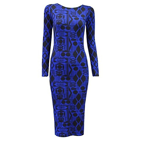 Crazy Girls Womens Celebrity Inspired Animal Trible Tie Dye Print Midi Bodycon Dress (S/M-US6/8, Geometry Print Blue)
