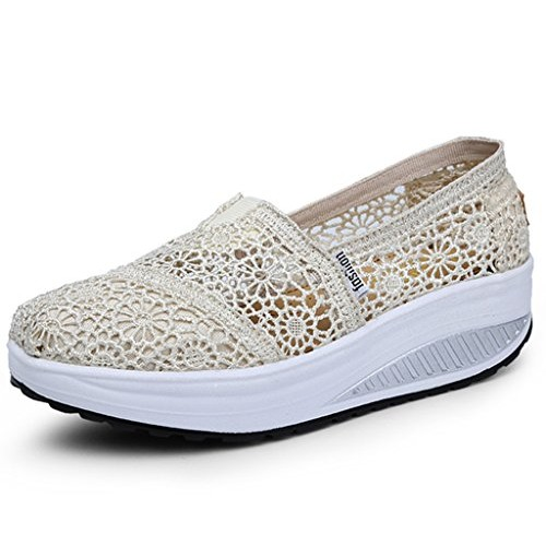 DADAWEN Women's Crochet Classic Slip-on Toning Shoe Walking Sneaker-Beige 5.5 US size
