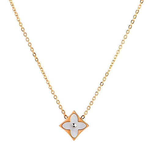 "Designer Inspired Four Leaf Clover Steel and Mother of Pearl Pendant Necklace 18"" Inch (Rose-Gold-Plated-Stainless-Steel)"