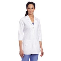 Dickies Scrubs Women's Junior Fit 3/4 Sleeve Lab Coat, White, Small