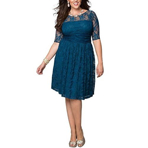 Dilanni Women Plus Size Lace Dresses Wedding Dress For Brides Mother Knee Length