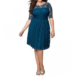 Dilanni Women Vintage Pullover Lace Dress Plus Size (2X,Blue)