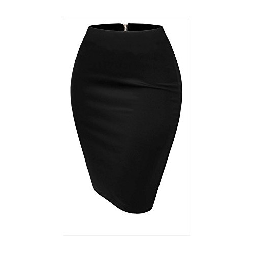 Dilanni Women's Basic Comfort Stretch Bodycon Fitted Midi Blank Pencil Skirt