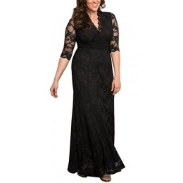 Dilanni Womens Lace Plus Size Retro Lace Slim Wedding Guest Dress Event Gowns