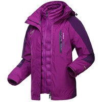 Dnstar Women's 3 in 1 Ski Jacket Down Waterproof winter Coat Work Plus Size Purple 2XL