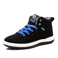 Do.BOMRVII Men's Casual Winter Fur Lining Warm Snow Boots Skate Shoes High Top Sneakers (Black, EUR48=US12)