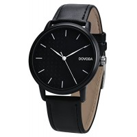 DOVODA Watches for Men Casual Classy Quartz with Black Leather White Dial