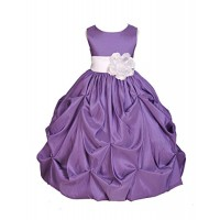 Wedding Taffeta Purple Bubble Pick-up Flower Girl Dress Toddler Gown 301s 2