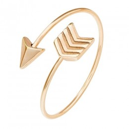 ELBLUVF Stainless-steel Rose Gold Plated Chevron Arrow Wrap Ring Love Arrow Ring (7)