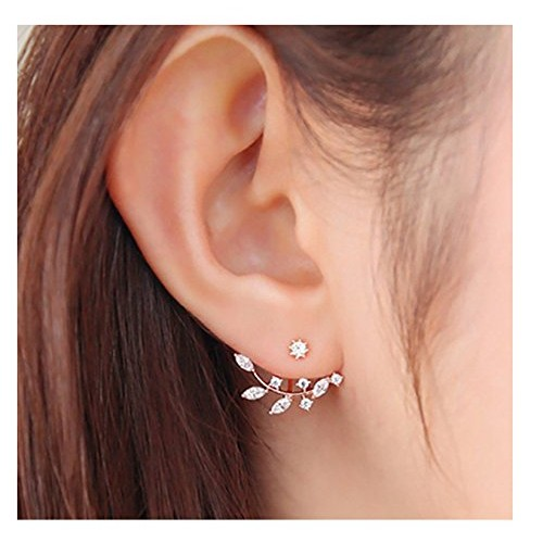 Elensan gold plated Leaf Earrings Zirconia Cz Leaf Ear Jacket Leaf Ear Cuff