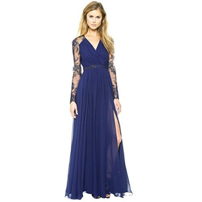 Fashion Story Lace Long Sleeve Dress Chiffon Evening Formal Party Dress Prom Gown (12)