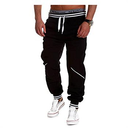 "Fashion Story Men Harem Casual Baggy HipHop Dance Sport Sweat Pants Trousers (Black, Waist30.7"")"