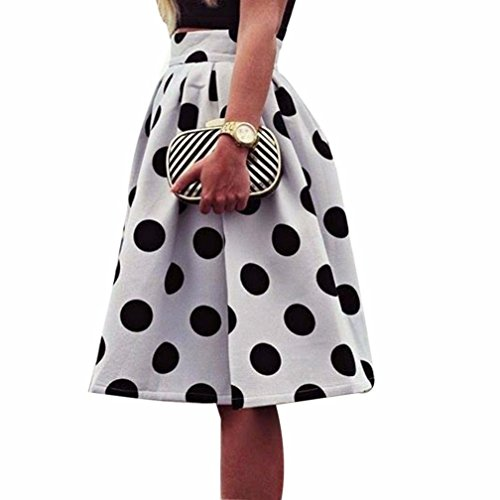 Women Bodycon Polka Dot Umbrella Skirt Retro Puff Skirts by FEITONG (M)