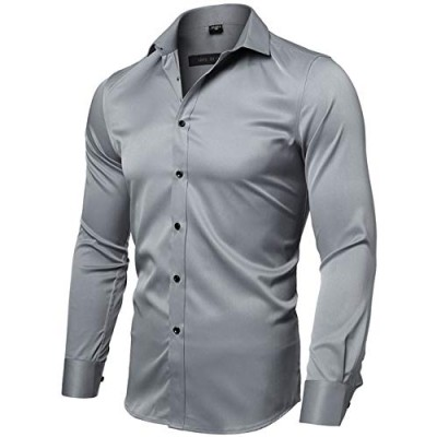 FLY HAWK Mens Casual Dress Shirt Slim Fit Long Sleeve Button Down Shirts, Blue3, Tag42