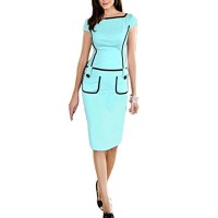 FORTRIC Women Cap sleeve Slim Wear to Work Evening Gowns Pocket Pencil Dress Green S