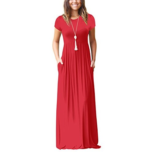 Freemale Womens Short Sleeve Crewneck Solid Casual Long Maxi Dress with Pockets