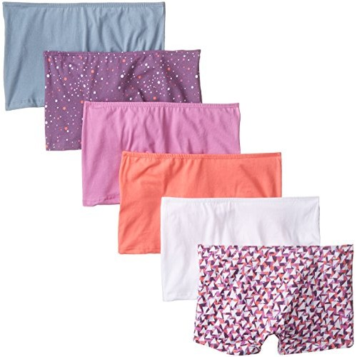 Fruit of the Loom Women's 6 Pack Comfort Covered Waistband Boyshort Panties, Assorted, 5