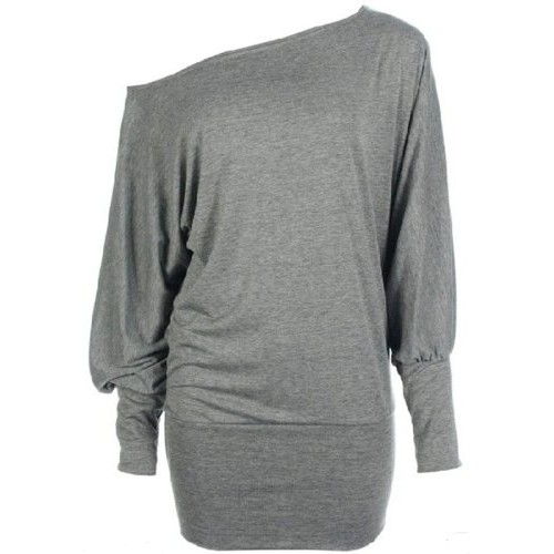 Funky Boutique Women's Long Sleeve Off Shoulder Plain Batwing Top Light Grey 12-14 ML