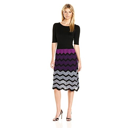Gabby Skye Women's Elbow Sleeved Chevron Sweater Dress, Black/Purple, XL