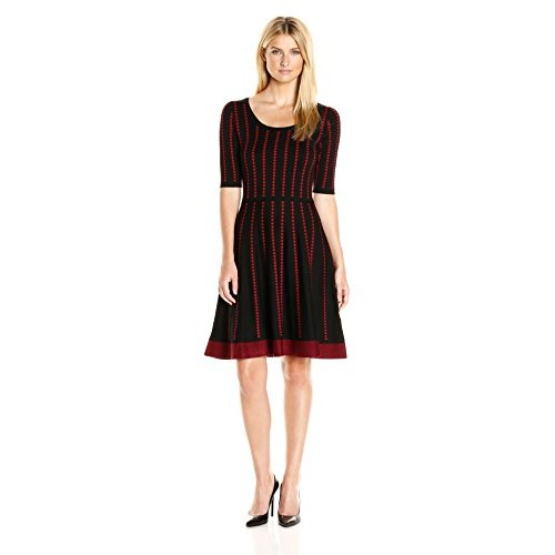 Gabby Skye Women's Elbow Sleeved Dotted Stripe Sweater Dress, Black/Ruby, S