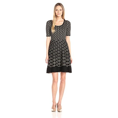 Gabby Skye Women's Fit and Flare Printed Sweater Dress, Black/Beige, M