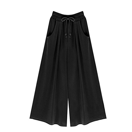 Elastic Solid Wide Leg Pants with Pockets Black