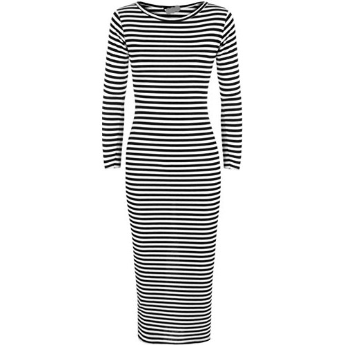 Girls Walk Women's Ribbed Monochrome Stripe Print Sleeve Stretch Long Midi Dress