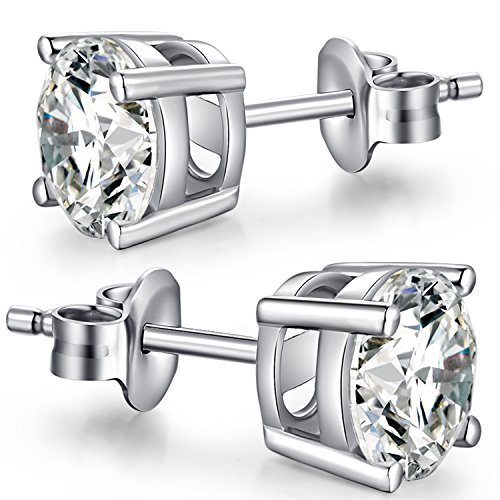 925 Sterling Silver 4mm Round CZ Stud Earrings,Unique Fashion Cubic Zirconia Earrings Stud,Rhodium Plated Stud Earrings Set for Women,Sim...