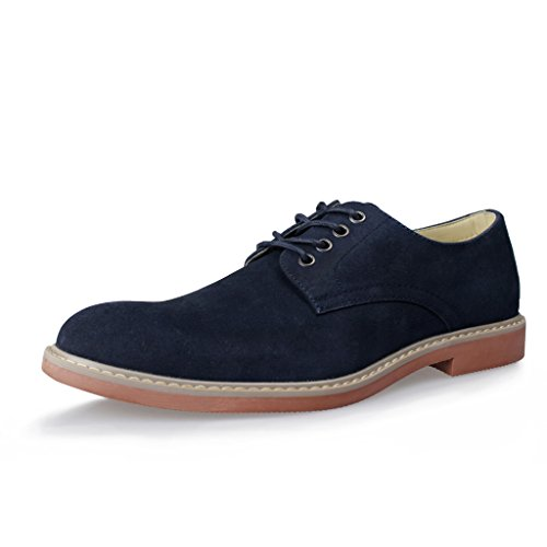 Hawkwell Men's Casual Suede Classic Lace up Oxford Lace Dress Shoes,Navy Suede PU,8 M US