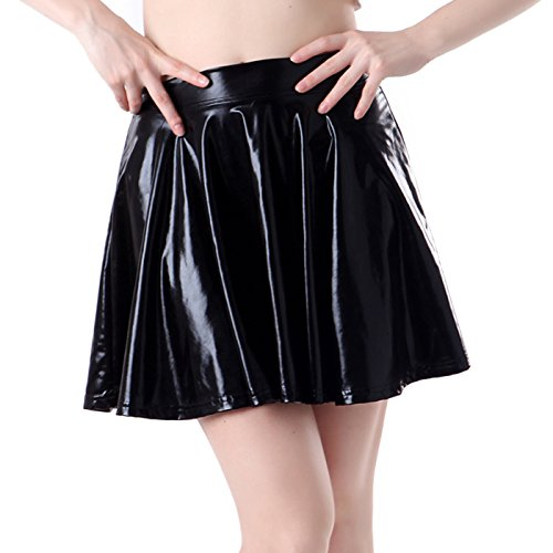 HDE Women's Shiny Liquid Metallic Wet Look Flared Pleated Skater Skirt (Black, Small)