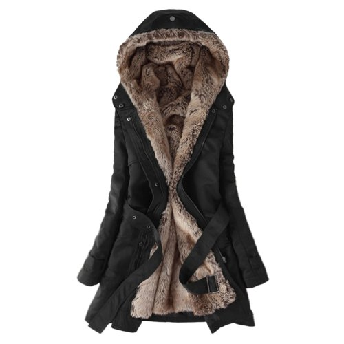 Hee Grand Women Thicken Fleece Faux Fur Warm Winter Coat Chinese M Black
