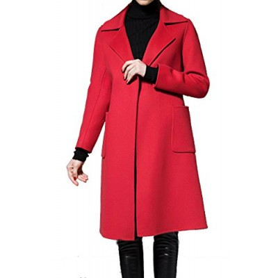 Helan Women's Simple Classic Design Long Woolen Trench Coat With Belt Red US 4