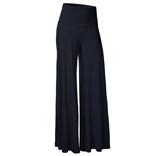 Honeystore Women's Comfy Chic High Waisted Long Palazzo Lounge Pant Navy L