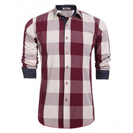HOTOUCH Men's Casual Button Down Plaid shirts Red White S