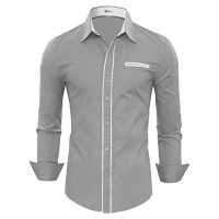 HOTOUCH Men's Regular Fit Dress Shirt Casual Button Down Shirt Gray L