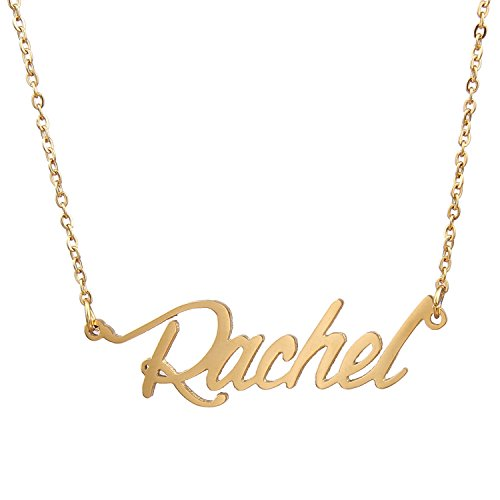 HUAN XUN Gold Plated Custom Name Necklace Jewelry, Rachel