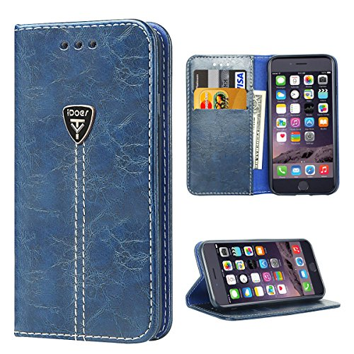 iPhone 6s Plus Case Wallet Flip Case for iPhone 6 Plus Kickstand Fashion Casual Premium Leather Cover Blue