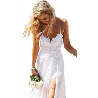 Ikerenwedding Women's Spagetti Straps Empire Backless Beach Lace Wedding Dress Summer Bridal Gown White US02