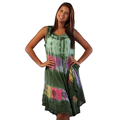 Blue Sundress/beach Cover up One Size-Green