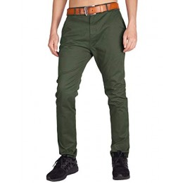 ITALY MORN Men's Chino Zipper Flat Front Casual Pants 38 Army Green