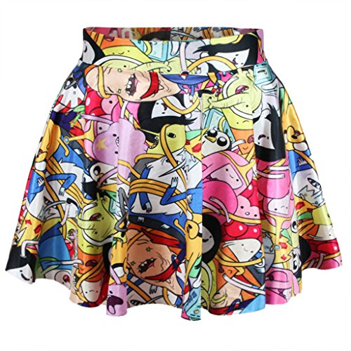 Girls Popular Cartoon Adventure Time Digital Print Skater Skirt for Christmas