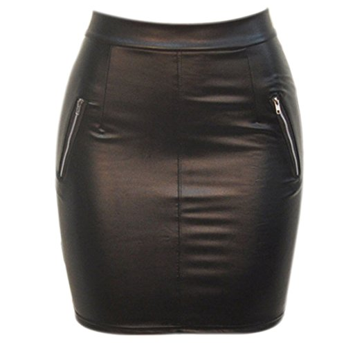 Sexy Leather Pu Bodyocn Wrap Club Mini Skirt Zipper Short Pencil Dress