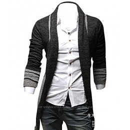 Kisstyle Mens Casual Splicing Design Long Sleeve Soft Warm Cardigan_Dark Grey_XL