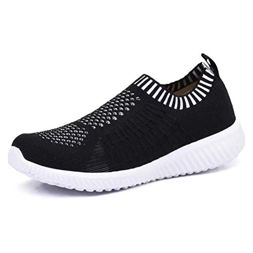 KONHILL Women's Lightweight Casual Walking Athletic Shoes Breathable Mesh Running Slip-On Sneakers, Black, 35