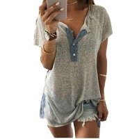 Women's Blouse,Laimeng,Women Loose Casual Button Blouse T Shirt Tank Tops (M, Gray)