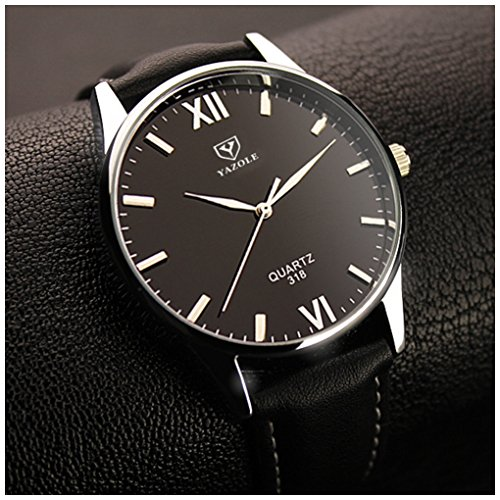 LinTimes Fashion Simple Mens Watch Quartz Analog Business Casual Wristwatch Black Band Black Dial