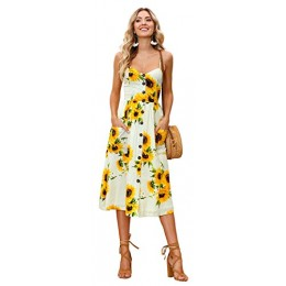 Longwu Women's Sexy Spaghetti Strap V-Neck Floral Print Casual Maxi Dress Beach Wear Yellow-M