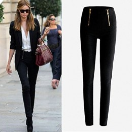 Lookatool Women's Zip Pencil Pants High Waisted Slim Stretch Leggings Trousers Pants (Black, L)