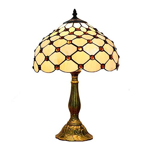 """12"""" Beads Tifany Bedroom Table Lamp Bronze Base Beige Lampshade Study Room Desk Light Living Room Table Lighting Fixtures"""
