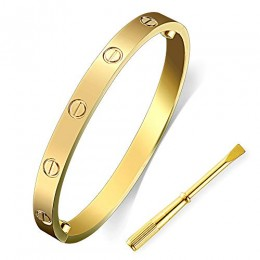 LZX-VICTOR Womens Fashion Buckle Bangle Titanium Steel Bracelet Love Bracelet Screw Bracelet Jewelry for Women (Gold, 7.5)